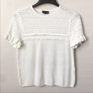 Topshop White Open Knit Popover Sweater